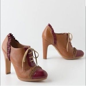 Miss Albright Anthro ruffle oxford lace up heels
